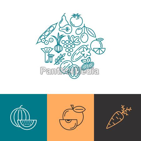 digital blue vegetable icons set infographics