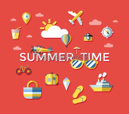 digital vector red summer time travel