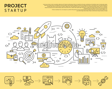 digital vector yellow startup business icons