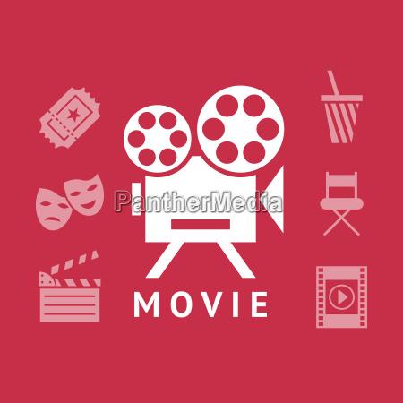 digitale vektor rot weisse kino symbole