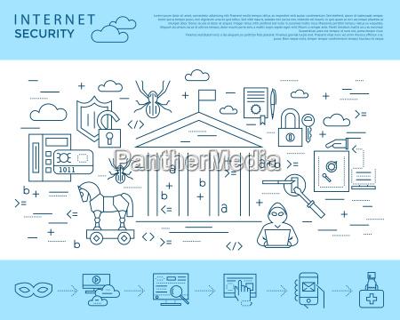 digitale vektor blau internet sicherheit datenschutz