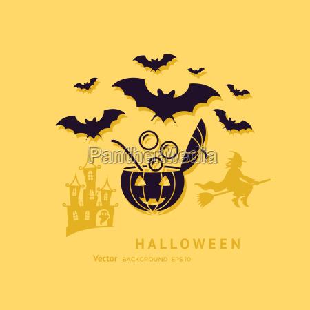 digitale vektor gelb schwarz happy halloween