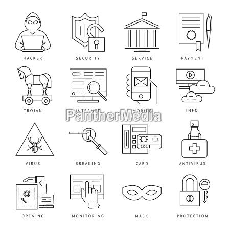 digital vektor internet sicherheit datenschutz symbole
