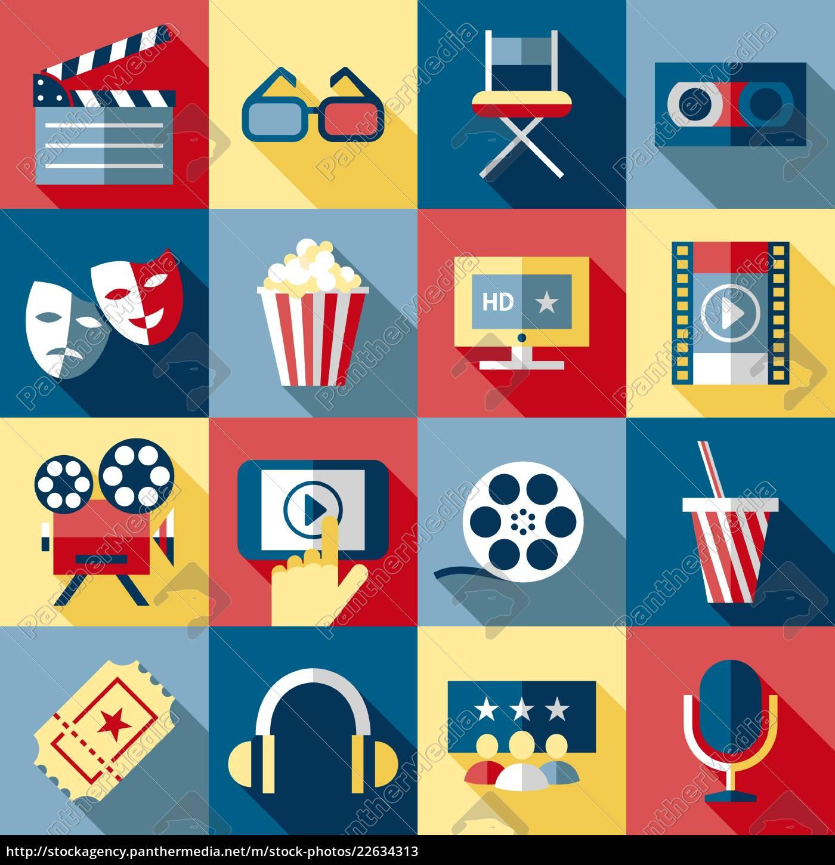 digitaler, vektor, rot-blau, 16, kino-ikonen, mit - 22634313