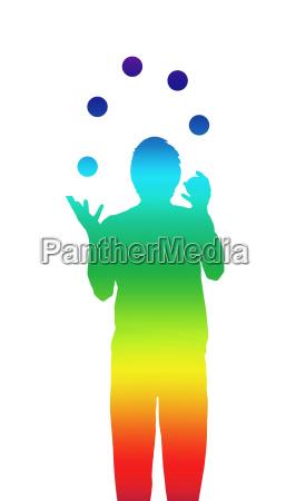 jongleur farben konzept entspannung