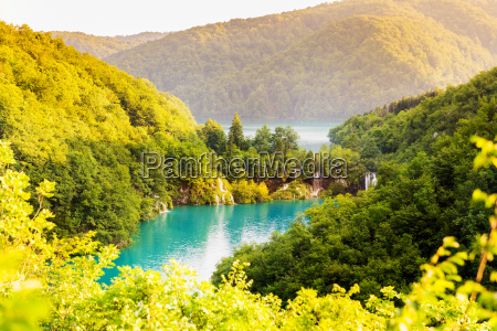 beautiful landscape with waterfalls in plitvice