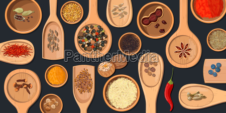 wooden spoons and bowls with realistic