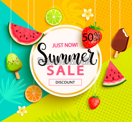 summer sale with fruits