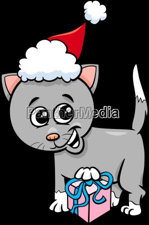 kitten with christmas gift cartoon