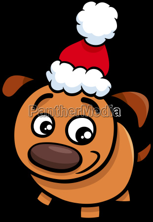 puppy on christmas time cartoon