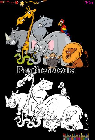 safari animal characters coloring book
