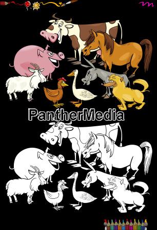 cartoon nutztiere malbuch