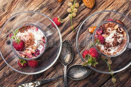 vanilla ice cream with raspberry