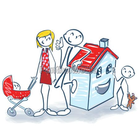 strichmaennchen mit haus und kleinfamilie
