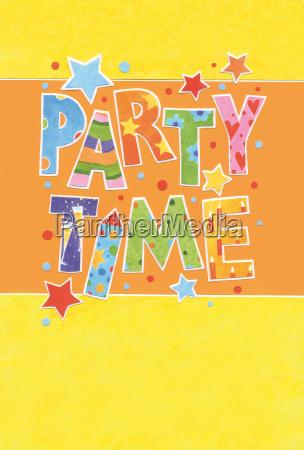 einladungskarte party in farbigen lettern