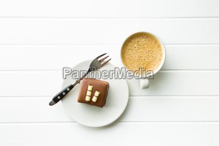 sweet chocolate dessert and coffee