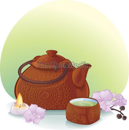 tee zeremonie illustration mit einer keramik