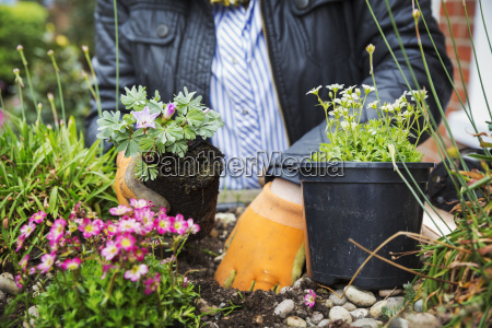 close up of person wearing gardening