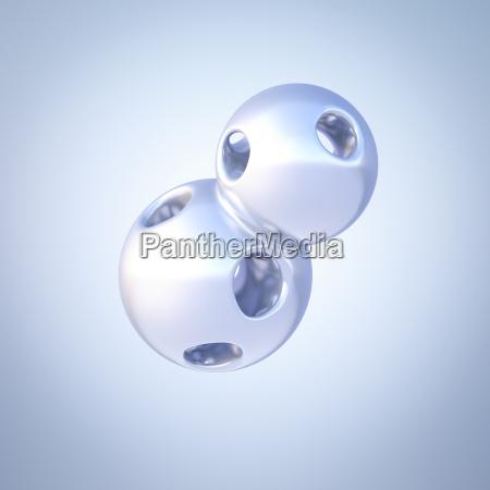 two connected mercury spheres 3d rendering