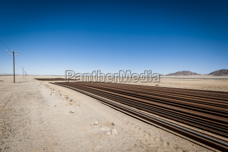 namibia namib desert rails near road