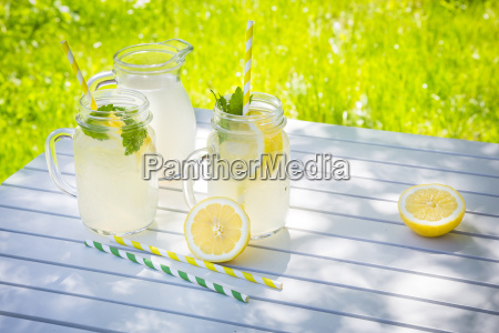 two glasses of cooled lemonade flavoured