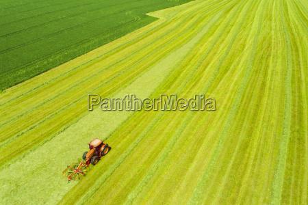 hay tedder on field