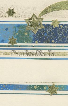 weihnachtskarte in blau und beige mit