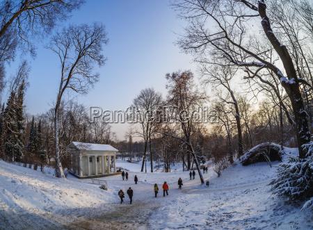 royal baths park at winter time