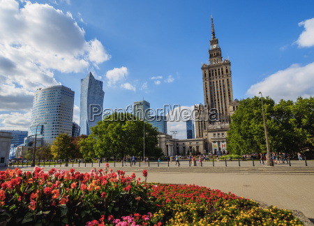 skyscrapers with palace of culture and