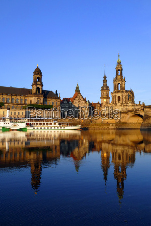 elbe river and old town skyline