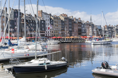 boats in the harbour honfleur normandy