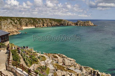 view over the minack theatre to