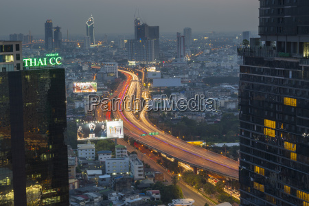 elevated view of city skyline bangkok