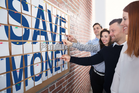 save money text made with adhesive