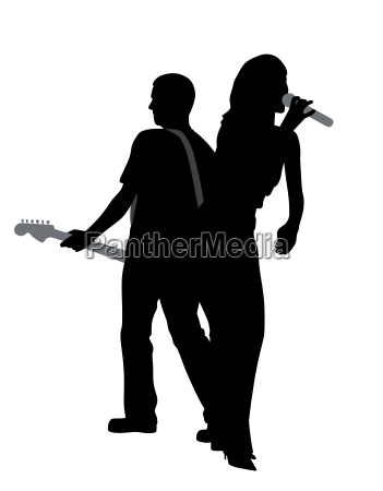 woman singer and man guitar player