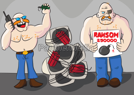 lustiger computer ransomware karikatur