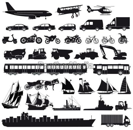 satz von autos lkw bus schiffe