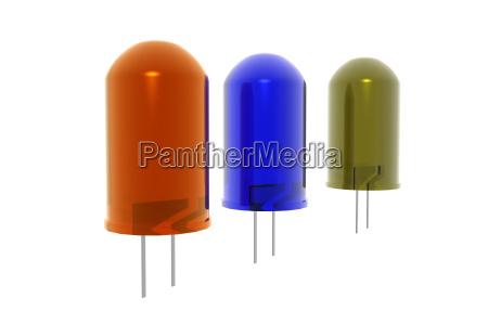 farbige leuchtdioden freigestellt