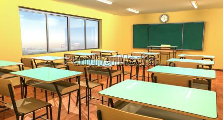 leeres klassenzimmer mit tafel stuehlen und