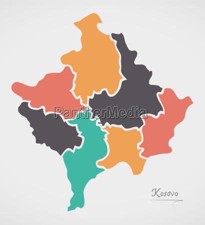 kosovo karte mit staaten und modernen