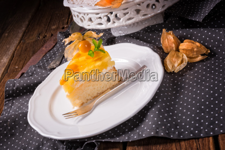 delicious cakes with physalis fresh apples