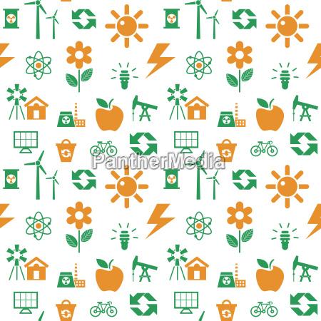 digital vector orange green ecology icons