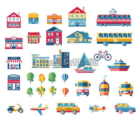 digital vector blue red city transport