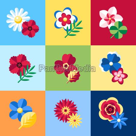 digital vector blue flowers set icons