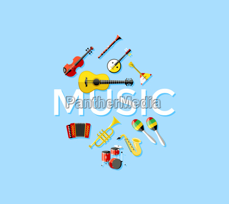 digital vector blue music instruments icons