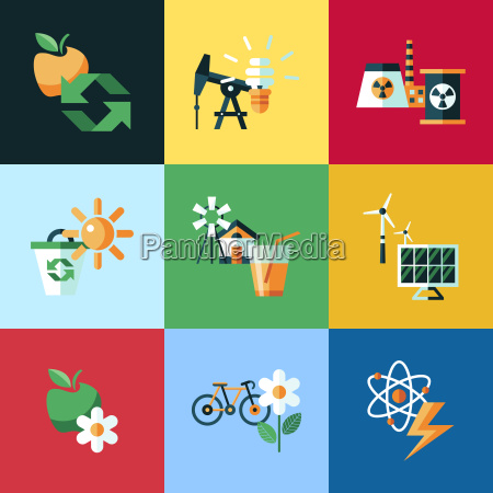digital vector red ecology icons with