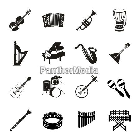 digital vector black music instruments icons
