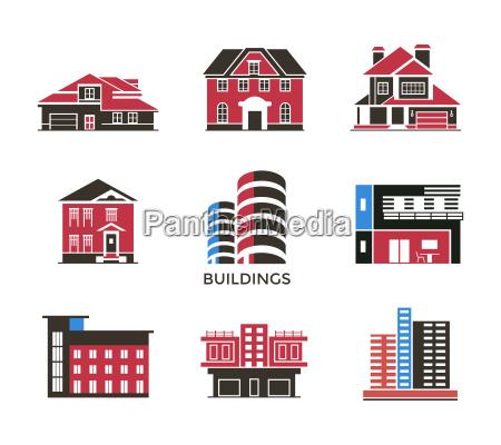 digital vector black red city buildings