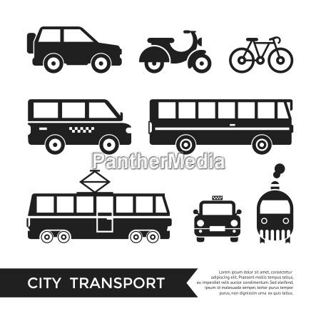 digital vector black city transport icons