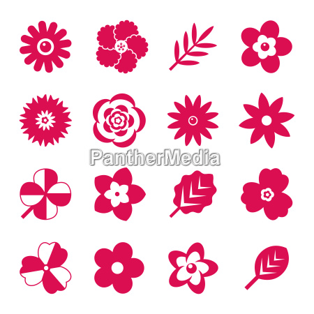 digital vector red flowers set icons